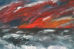 Unwetter am Meer, 2016, 40 x 50, Acryl auf Leinwand