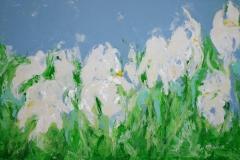 Iris weiß, 2011, 70 x 100, Acryl auf Leinwand