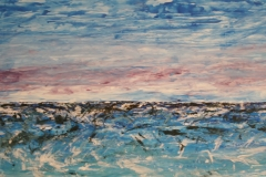 Dräuendes Meer 2, 2015, 69 x 147, Acryl auf Papier